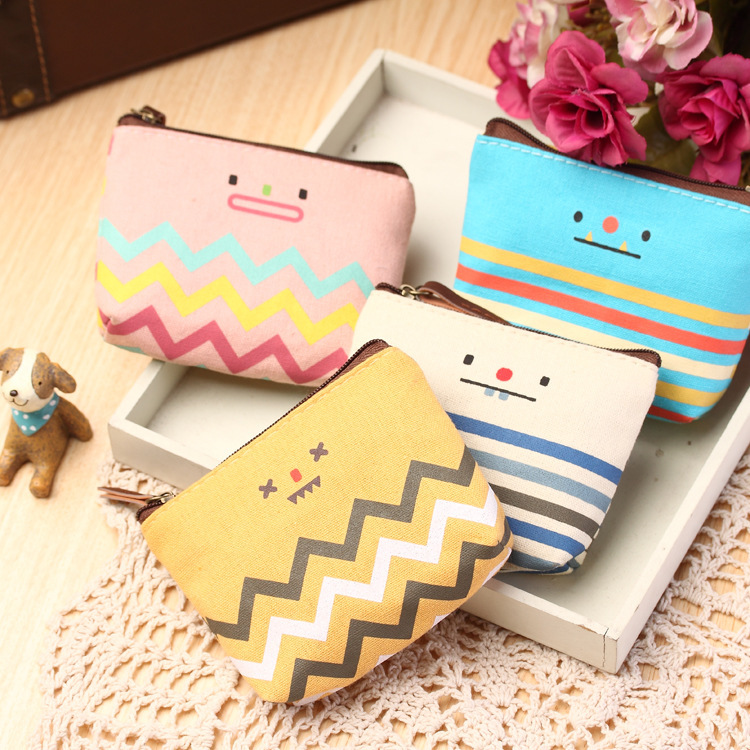 все цены на  Lovely Creative Smiling Face Canvas Girls Mini Coin Purses Vogue Classic Coin Wallet Case With Zipper Small Money Bags  в интернете