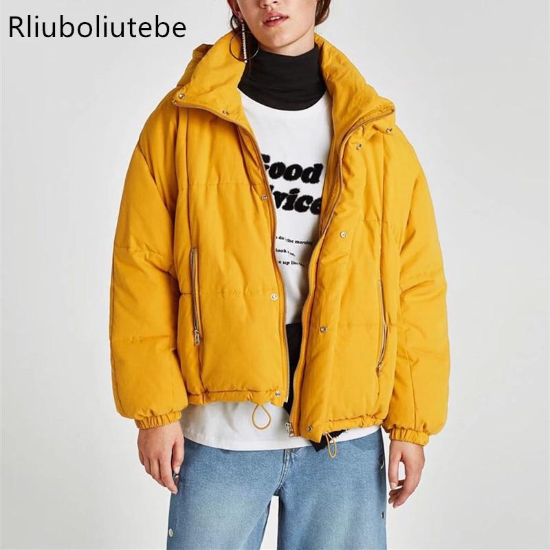 Capot D'hiver Noir Haut Chaude jaune Veste Femmes orange De Cordons Puffer Élastique Streetwear Base Parkas Col Outwear Manteau rpvHwrKqZ