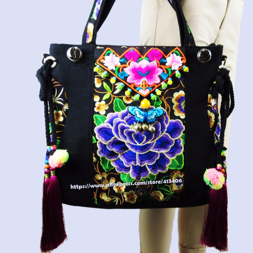 2-Usage Vintage Hmong Tribal Ethnic Thai Indian Boho shoulder bag messenger tote bag handmade, embroidery pom trim bell SYS-520B vintage hmong boho tribal ethnic thai indian boho embroidery hand bag messenger purse bag hobo tote bag pom bead trim sys 1016