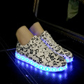 2016 Colorful LED luminous fluorescent shoes couple men and women shoes Korean tidal USB charging shoes sze 35~46 free shipping