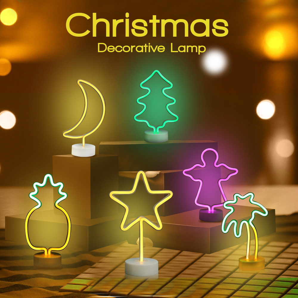 New Premium As Gift 6 Type Angel Christmas Coconut Tree Moon Star Pineapple Polygona Model Neon Night Light Decorative Lamp
