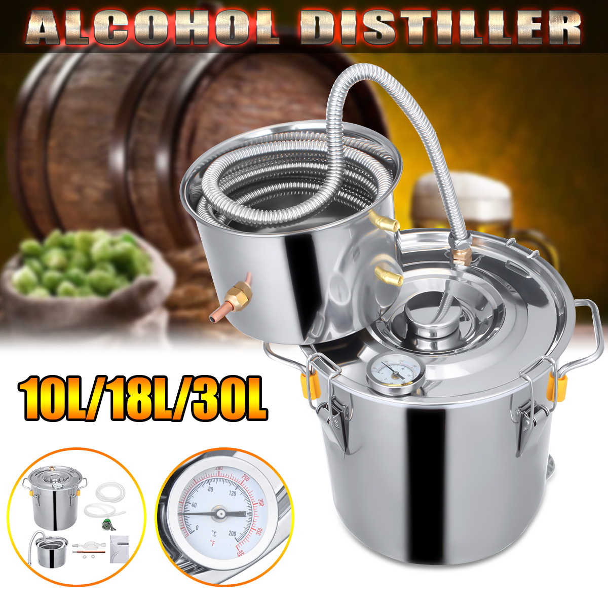 10L/18L/30L Vino Birra Alcol Distiller Moonshine Alcol Casa FAI DA TE Kit di Casa Distillatore Birra In Acciaio Distillatore Attrezzature