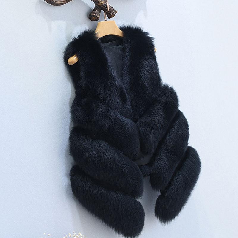 S-4XL женский Мех животных жилет Новинка года зима теплая искусственного лиса Мех животных жилет Для Женщин высоком Класс Мода o-образным вырезом с длинным Мех животных пальто кардиган - Цвет: Черный