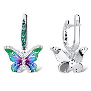 Image 4 - SANTUZZA Silver Earrings For Women 925 Sterling Silver Butterfly Earrings Silver Cubic Zirconia brincos Party Jewelry Enamel