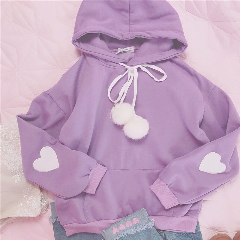 Winter students casual loose long sleeves heart embroidery cute plush ball drawstring hooded Pullovers women velvet