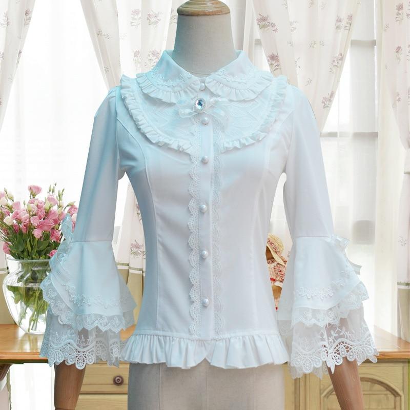 2019 Victorian Lolita Weiß / Schwarz Bluse Damen Lace Long Flare - Damenbekleidung - Foto 3