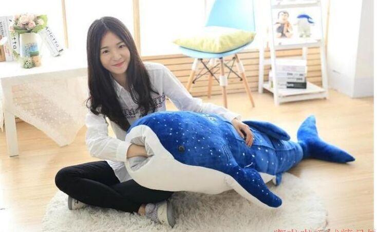 Grand 120 cm dessin animé bleu foncé baleine en peluche poupée jeter oreiller jouet cadeau d'anniversaire h2826