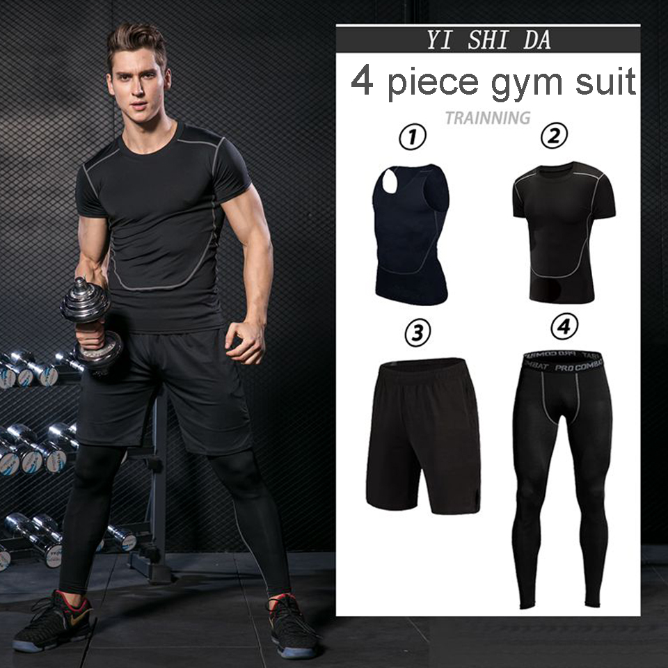 Mnes Gym Suits mens Sportswear Running clothes Fitness sportman sets Compression suit Running jumper Tracksuits active wear men ...