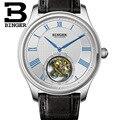 Высокое качество Бингер бизнес Чайка турбийон механические часы крокодил кожаный ремешок Сапфир Мужские автоматические часы 2017