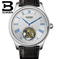 Hohe Qualität BINGER Geschäfts Seagull Tourbillon Mechanische Uhr Krokodil Lederband Sapphire Männer Automatische Uhren 2017-in Mechanische Uhren aus Uhren bei