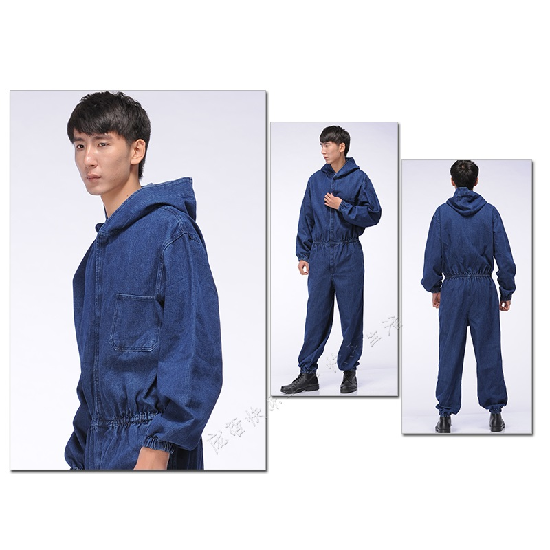 10 Sets  100% Cotton Denim Work Wear One Piece Protective Clothing Male One Piece Tooling Protective Clothing Hooded