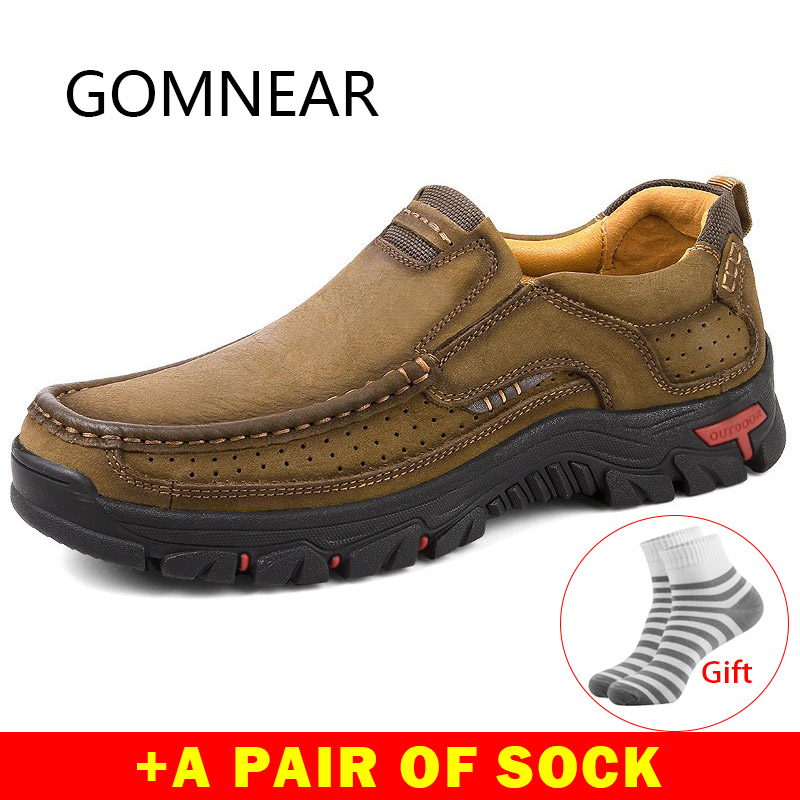 Gomnear Hiking Shoes For Men Genuine Leather Breathable Trekking Shoes Tactical Boots Outdoor Mountain Sneakers Hunting Footwear