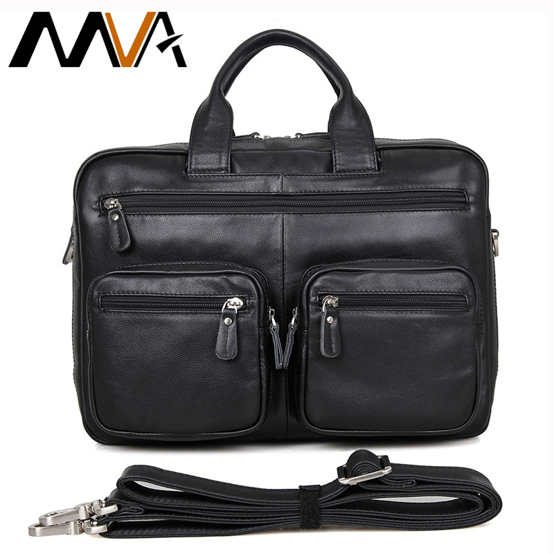 MVA Leather Laptop Bag 14 inch Business Men Briefcases Handbags Genuine Leather Men Bag Male Shoulder Messenger Bags Portfolio mva genuine leather men bag business briefcase messenger handbags men crossbody bags men s travel laptop bag shoulder tote bags