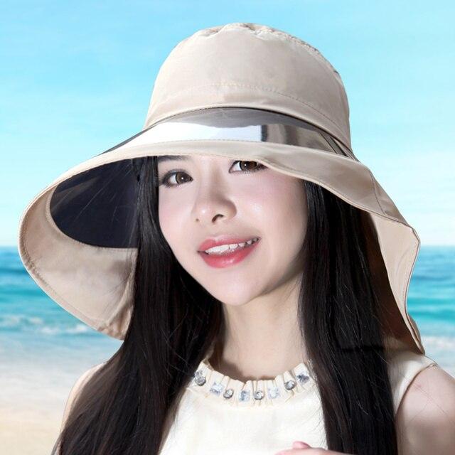 Летом шляп большой брим sunbonnet женская шляпа солнца уф зеркало большая шляпа солнца пляж крышка шеи анти-уф