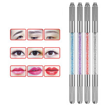 3D Manual Double Permanent Crystal Acrylic Tattoo Pen Microblading Tebori Tattoo Machine For Permanent Makeup Eyebrow Tattoo(China)