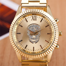 2017 Fashion Gold Rose Gold Skull Stainless Steel Round Dial Quartz Wristwatches Watch Hours Clock for