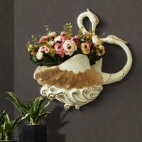 nordic style kids decoration room decor Swan creative wall hanging vase flower basket living room wall hangings
