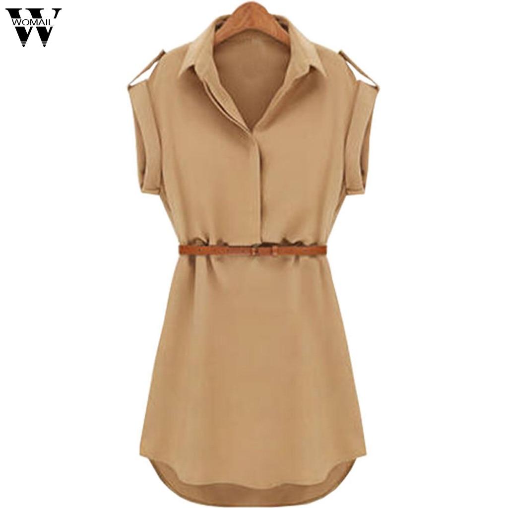 Vestido de Womail 1PC vestidos de verano mujeres Casual suelto de manga corta vestido con cinturón vestidos de verano 2019 Apr25