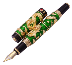Luxury Handmade Jinhao Green Cloisonne Double Dragon Fountain Pen Bent Nib Advanced Craft Writing Gift Pen for Business Graduate