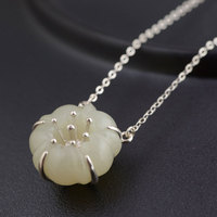 FNJ 925 Silver Flower Pendant Necklace For Women 45cm 3 5cm Link Chain S925 Thai Solid