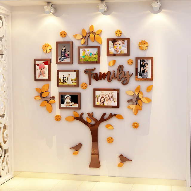Creative INS Baby growth photo tree DIY children's room bedroom home TV background wall decoration 3D acrylic wall sticker