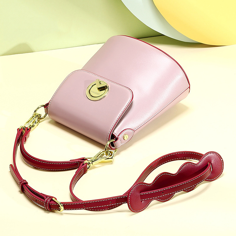 AOEO Luxury Handbags Women Bags Designer Ladies Bucket Bag Rotary Lock Korean Fashion Girl Small Shoulder