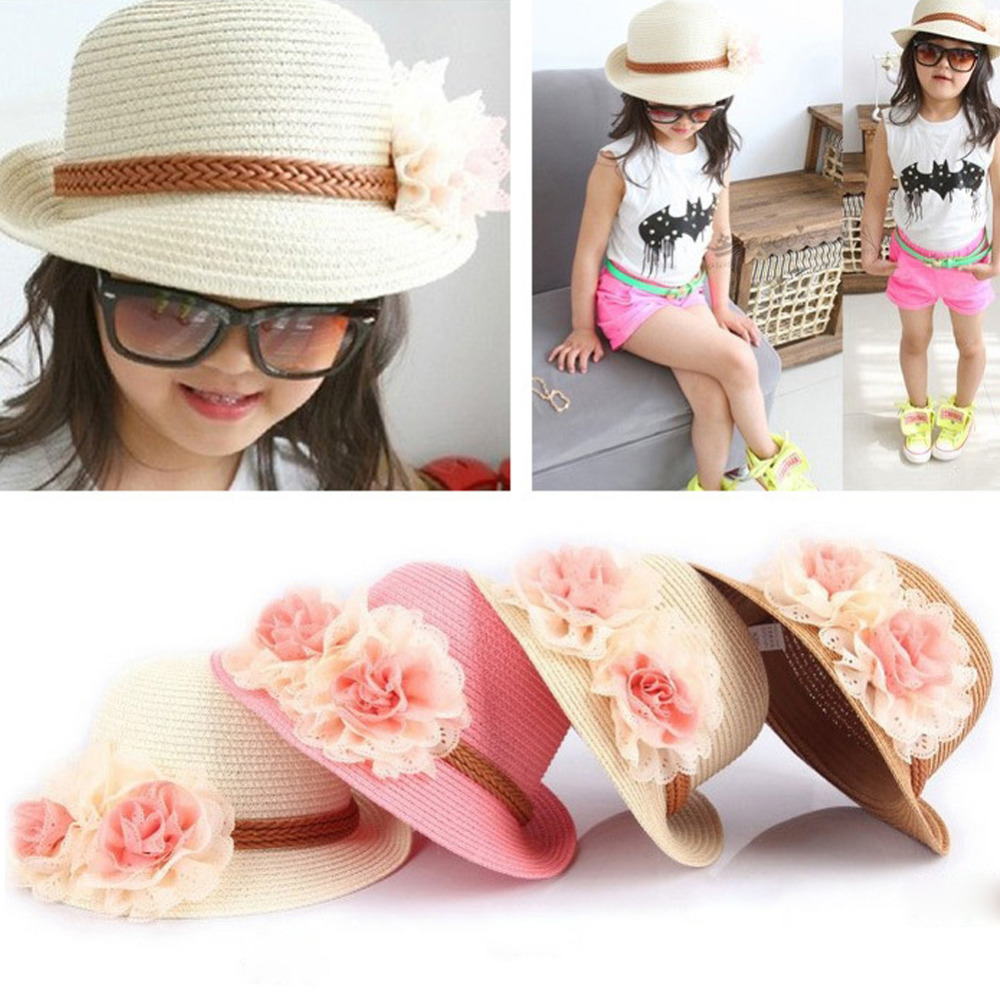 5e1a8086309 2017 New Summer Kids Floral Straw Hats Fedora Hat Children Visor Beach Sun  Baby Girls Sunhat Wide Brim Floppy Panama For Girl-in Hats   Caps from  Mother .