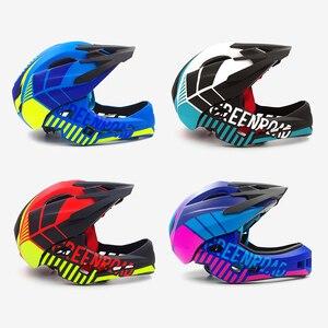 Image 5 - Детский горный велосипедный шлем, Звездный мотоциклетный шлем, на все лицо, для езды на горном велосипеде, детский козырек, красный цвет