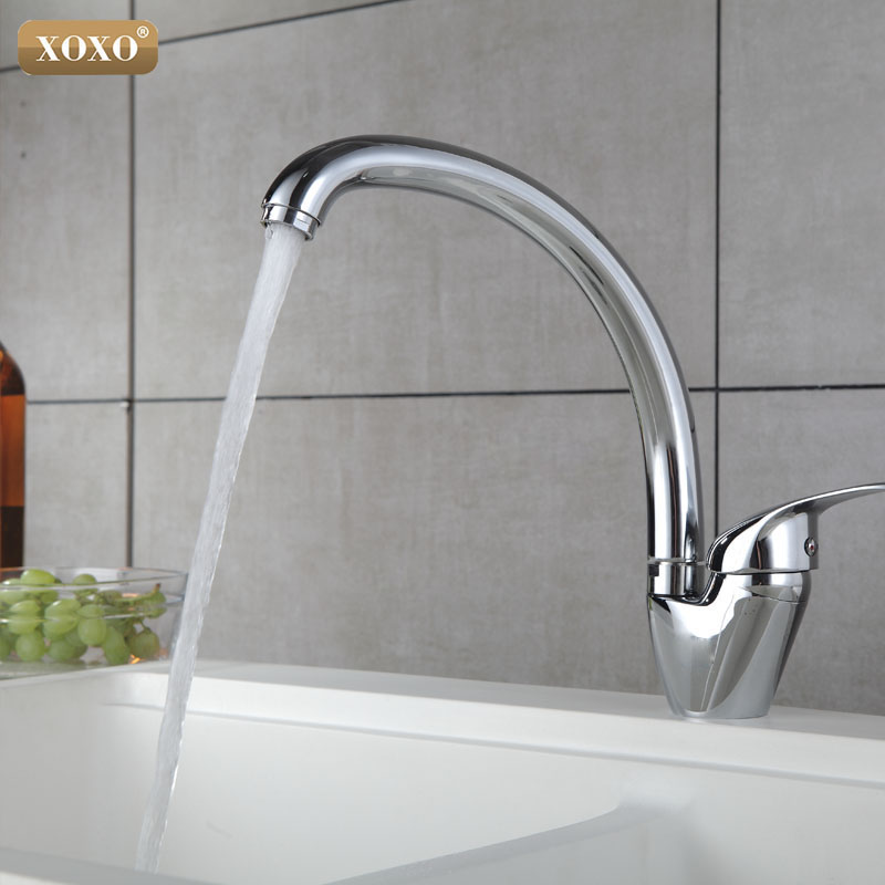 XOXO 360 degree rotation copper Kitchen Faucet Single Handle for Kitchen Sink Mixer Tap Chrome Finish