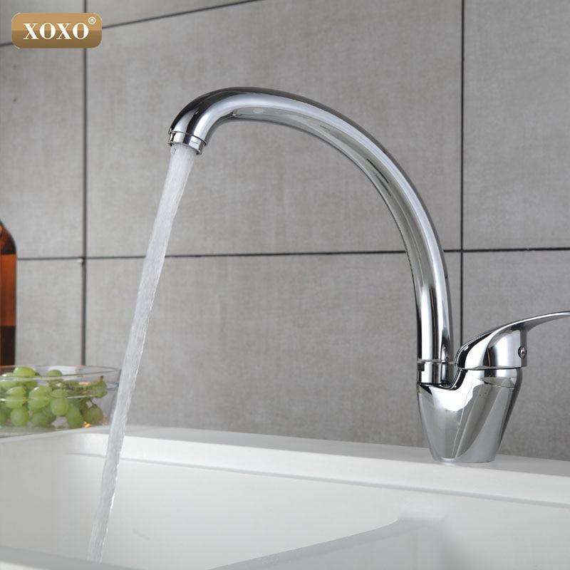 XOXO Kitchen Faucet  360 Degree Rotation Copper Kitchen Faucet Single Handle For Kitchen Sink Mixer Tap Chrome Finish 3309-3319