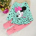 2017 Baby Girl clothes 4coloes Cute 2PCS Minnie t-shirt + pants suit casual long-sleeved t-shirt dot leggings set YAA015