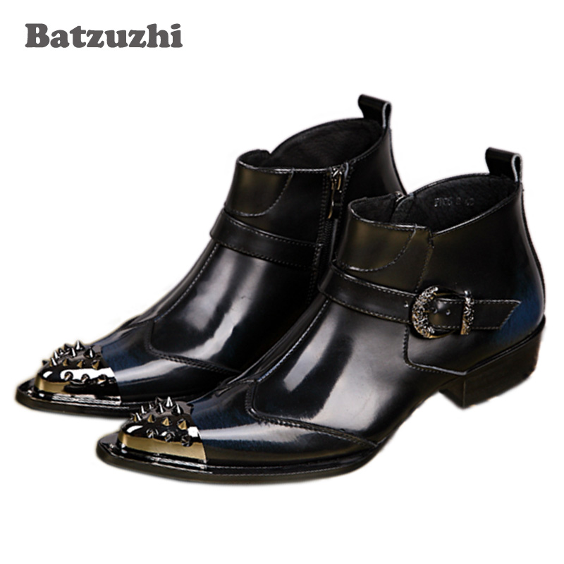 Batzuzhi High Fashion Rock Men's Leather Boots Italian Style Pointed Toe Men Ankle Short Boots Iron Toe, US6-12! batzuzhi italian style boots men fashion red dress leather boots zip pointed toe red leather ankle boots for man party wedding