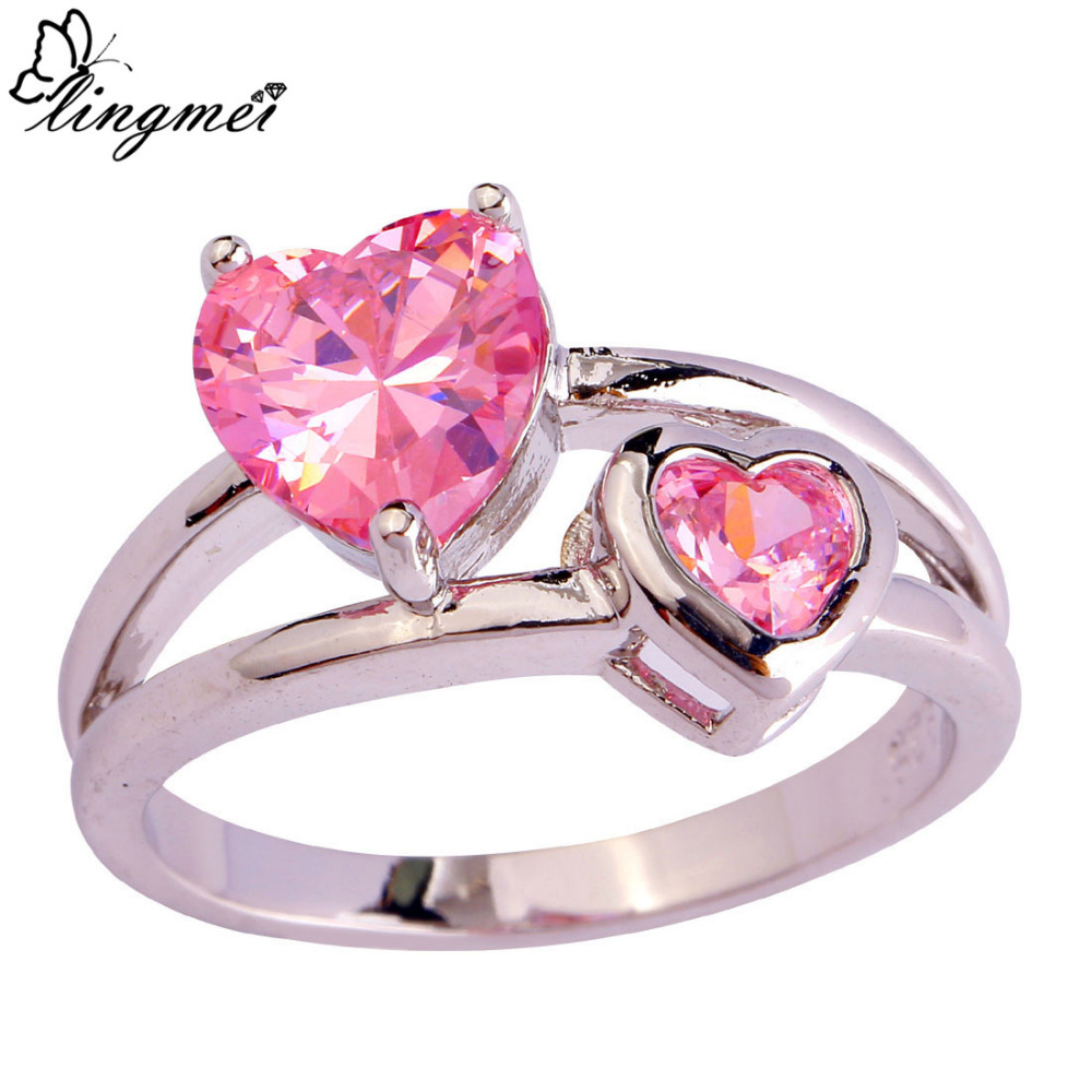lingmei Wholesale Fashion Jewelry Heart Pink CZ Silver Color Ring ...