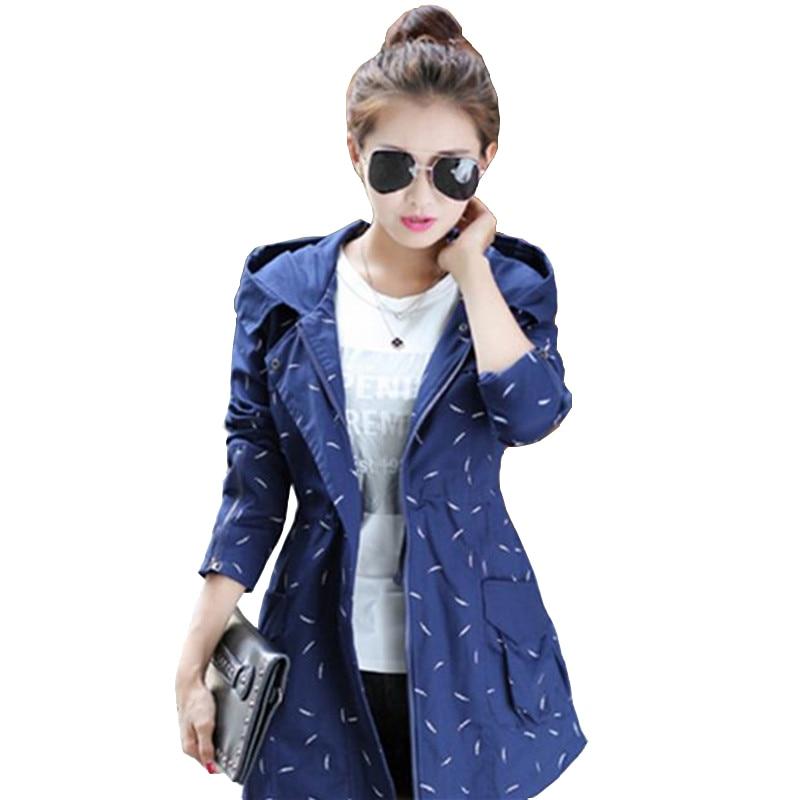 2016 New Fashion Women Trench Coat Medium Long Elegant Hooded Outwear Slim Waist Female Trench Outwear