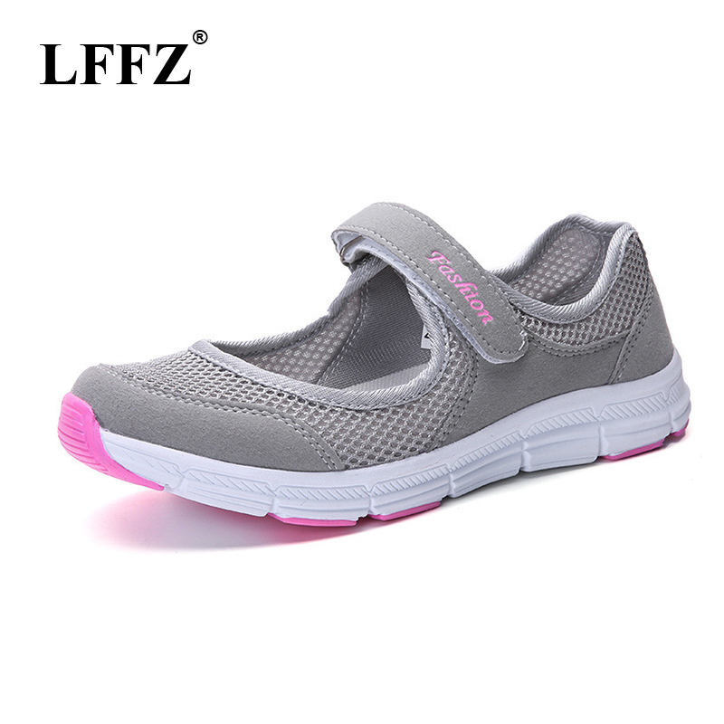 LFFZ Size 35-40 2018 New Fashion Spring <font><b>Women</b></font> Soft Sneakers Woman Air Mesh Cool Casual Shoes Female Leisure Black Flats JH131 image