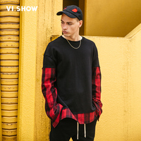 VIISHOW Hoodies Brand Men Letter Printing Sweatshirt Patchwork Sleeve Male Hoody Hip Hop Autumn Winter Hoodie