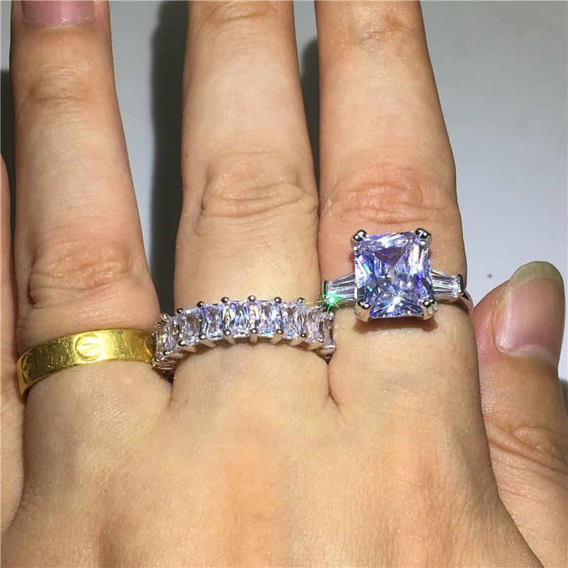 Vecalon หรูหราแหวนชุดเจ้าหญิงตัด AAAAA หิน CZ 925 เงินสเตอร์ลิงแหวนหมั้นแหวนผู้หญิงผู้ชาย