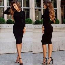 Women Dacron Long Sleeve Dress Bodycon Slim Fit O-neck Casual Dresses