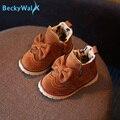 Retro Del Bowknot de Los Niños Botas de Invierno Las Niñas Zapatos de La Marca de Moda Martin Botas Niños Calientes Zapatos de Bebé Del Niño Zapatillas De Deporte para Chicas CSH233