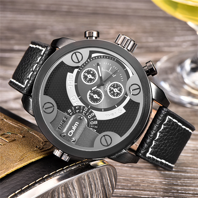 Topdudes.com - Casual Military Fashion PU Leather Strap Wristwatch with Double Time Zone Display