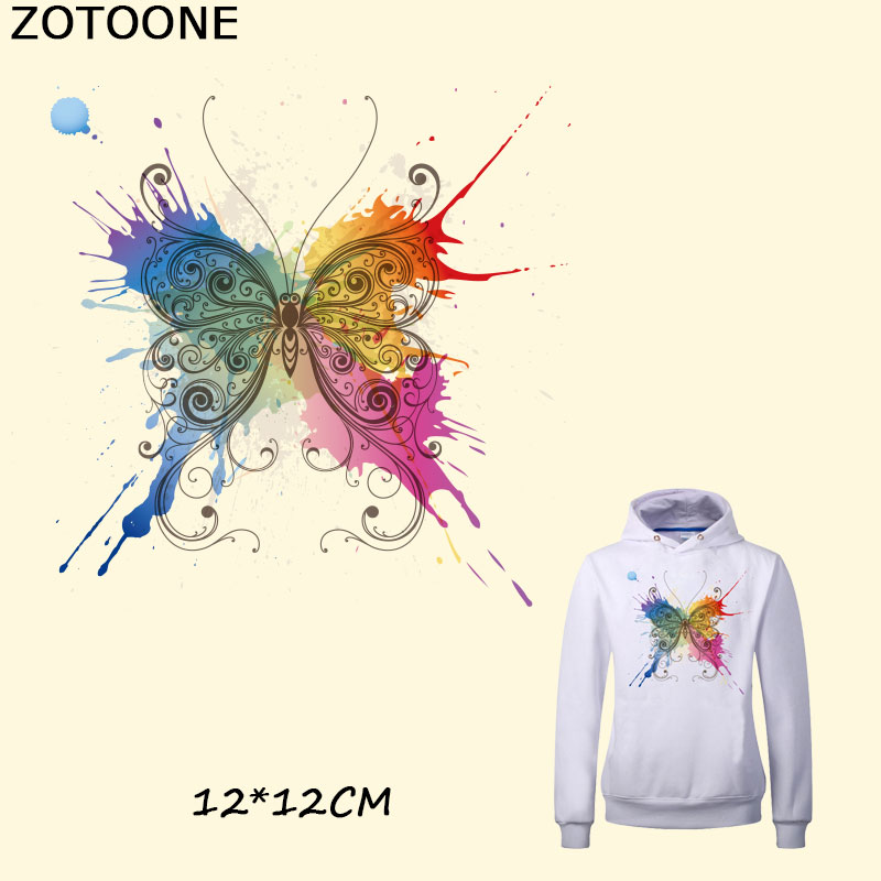 ZOTOONE Watercolor Butterfly Patch Iron on Clothes New Design Badges DIY Accessory Washable Heat Transfer Clothing Deco C