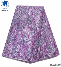 BEAUTIFICAL african organza lace fabric double with sequins for wedding purple 5yards per lot TCO82