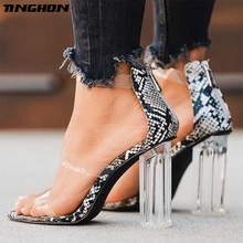 TINGHON  Fashion PVC Jelly Crystal Sandals snake Womens Shoes Peep Toed Block High Heels Transparent Heel Zipper Lady