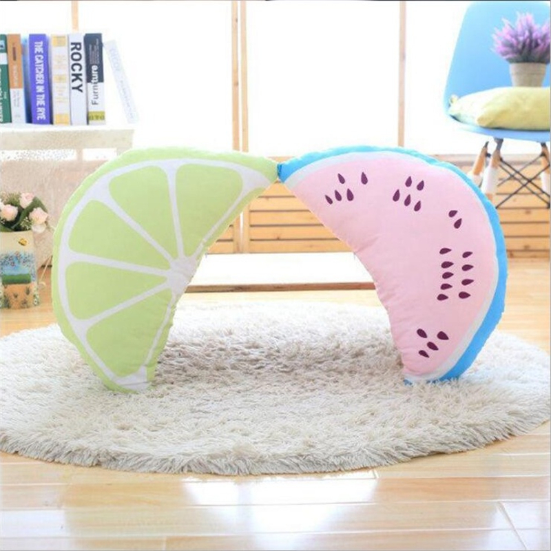 Lovely Real Life Watermelon Rainbow Plush Stuffed Pillow Baby Calm Sleep Toys Kids Bed Room Home Decoration Photo Props Gift Boy Real Life Plush