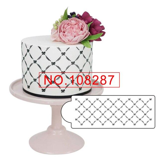 Acolchado Bow cake stencil plástico molde de encaje para la torta ...