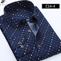 Горячие Продать Бизнес Длинным Рукавом M-5XL Dot Design Платье Slim Fit Повседневная Рубашка Люксовый Бренд Мужчин Рубашки Одежды ZY039