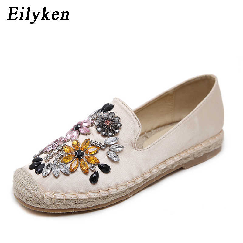 Eilyken Crystal Flat Shoes Women Hemp Rope Cane Fisherman Espadrilles Silk  Satin Loafers Casual Women Flat fcb49b75ea14