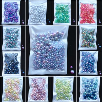 150-200 Unidades/pacote Mix Tamanho 3/4/5/6/8mm Contas Com Buraco Colorido redondas pérolas de Imitação de Pérolas de Acrílico DIY Para Fazer Jóias Prego