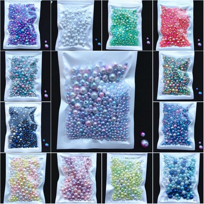 150-200 unidades/pacote tamanho da mistura 3/4/5/6/8mm grânulos com furo pérolas coloridas redondo acrílico imitação pérola diy para fazer jóias prego