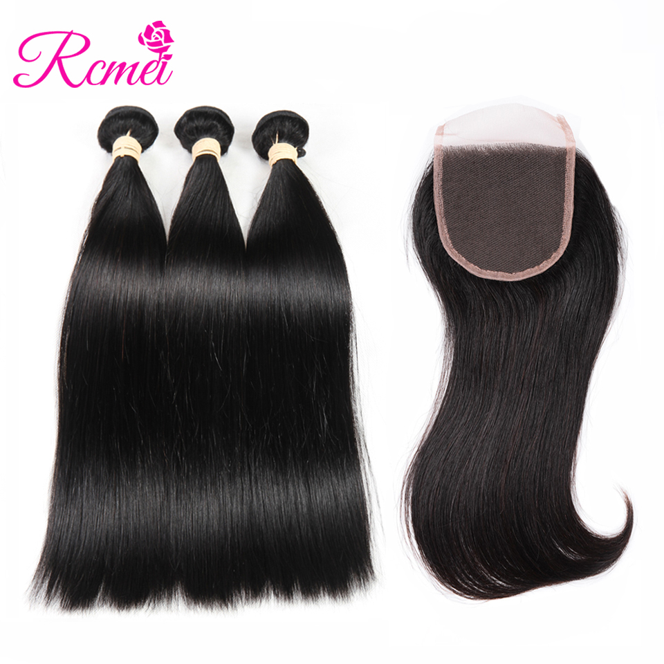 Rcmei Good Quality Remy Hair Brazilian Straigth Hair With Closure Remy Human Hair 3 Bundles With Closure Natural Black Extension